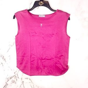 Yves Saint Laurent pink crystal sleeveless top YSL